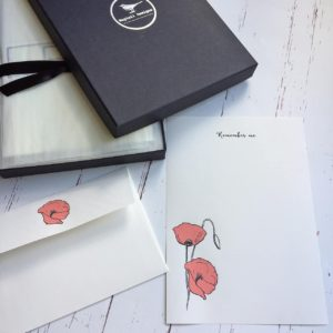 Writing Paper Gift Set with a Poppy illustration