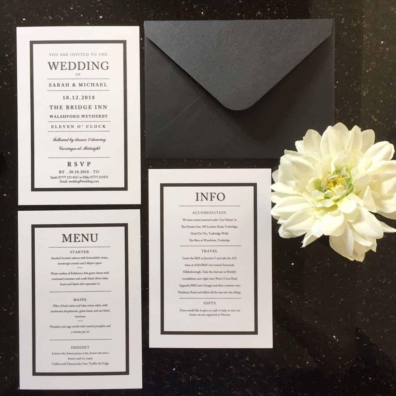Black White Wedding Invitations: Black And White Wedding Invitations And Stationery