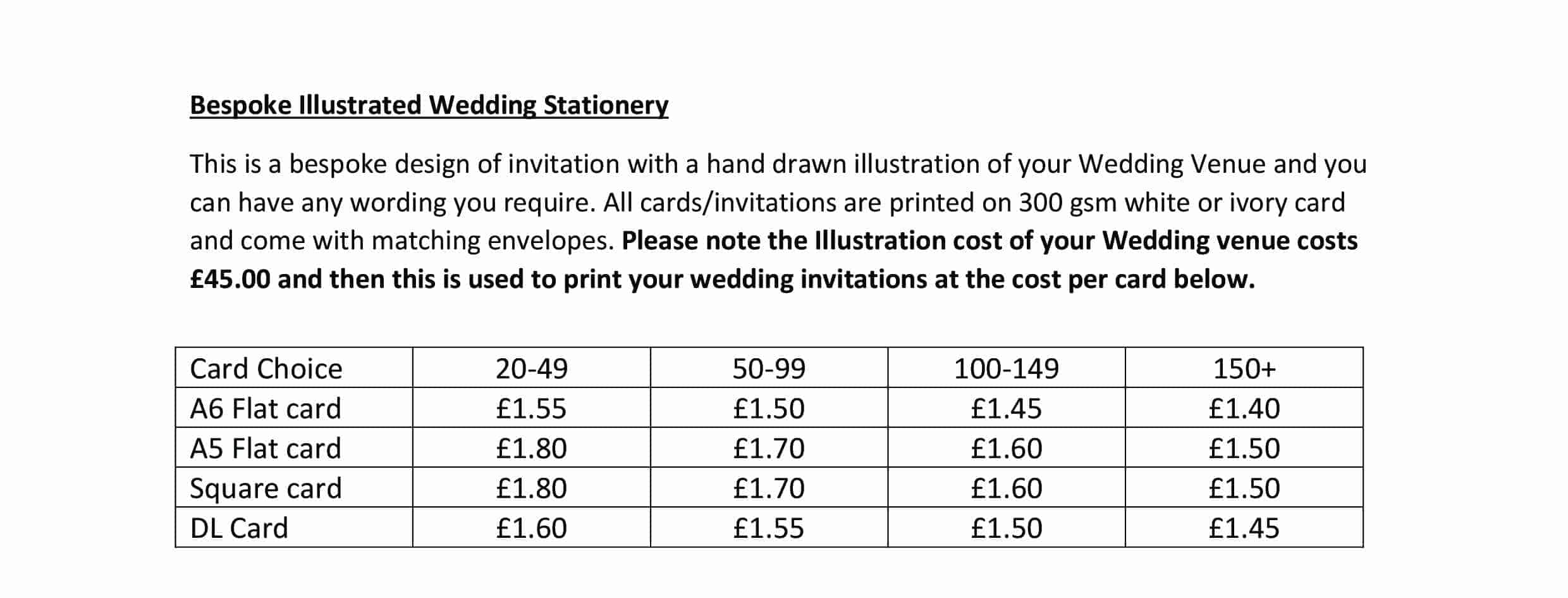 Bespoke Illustrated Wedding Invitation Price List