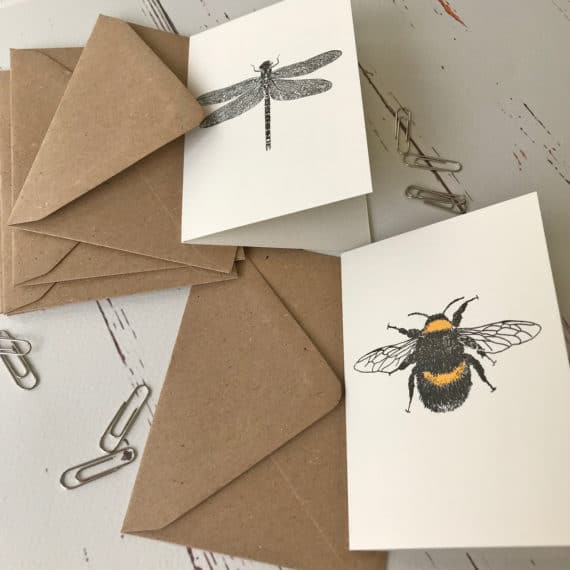 Dragonfly and Bumble Bee note cards