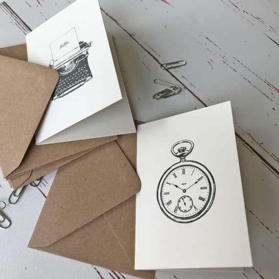 Typewriter and pocket watch