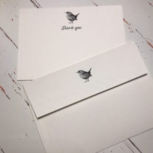 thank you cards with a hand drawn wren illustration