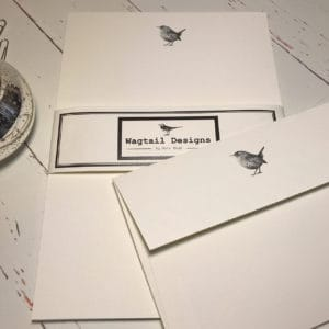 Writing Paper with a hand drawn wren illustration